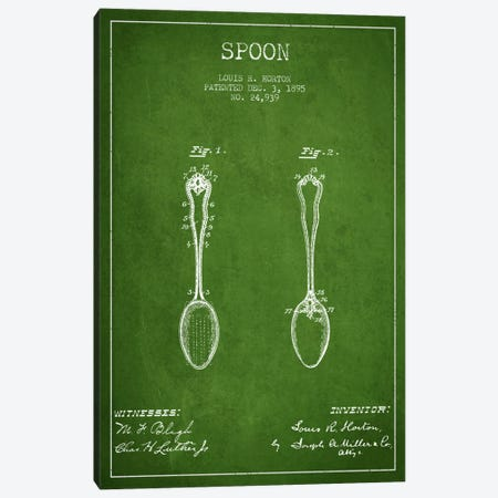 Spoon Green Patent Blueprint Canvas Print #ADP795} by Aged Pixel Canvas Art