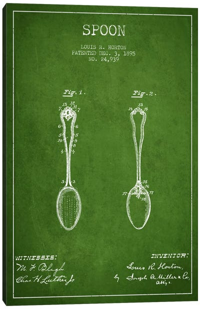Spoon Green Patent Blueprint Canvas Art Print