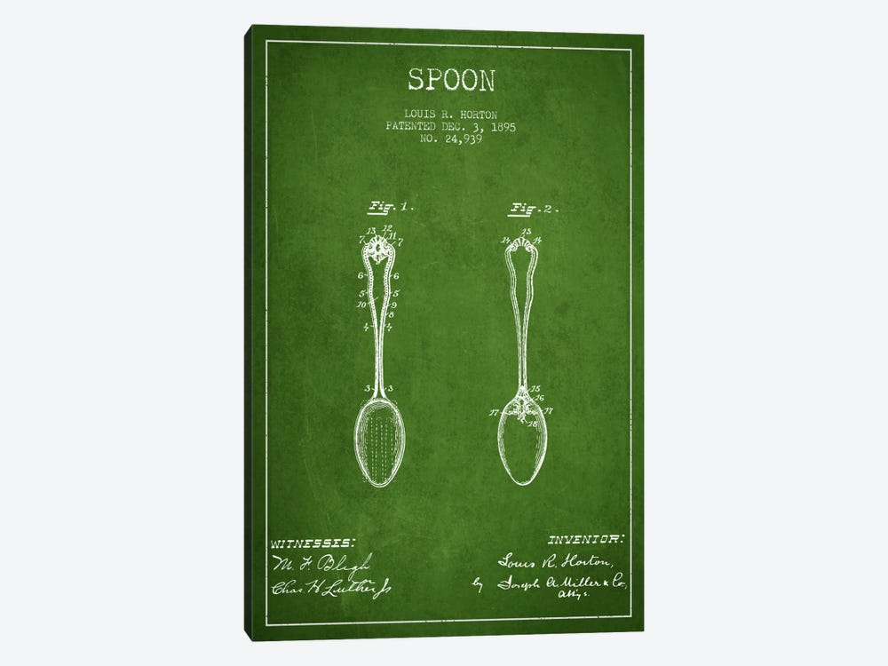 Spoon Green Patent Blueprint by Aged Pixel 1-piece Canvas Wall Art
