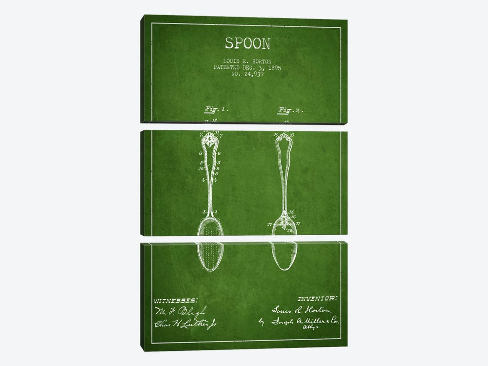 Spoon Green Patent Blueprint by Aged Pixel 3-piece Canvas Artwork