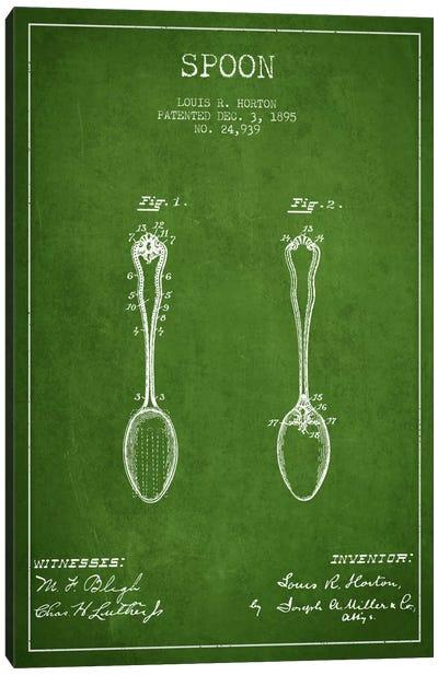 Spoon Green Patent Blueprint Canvas Art Print