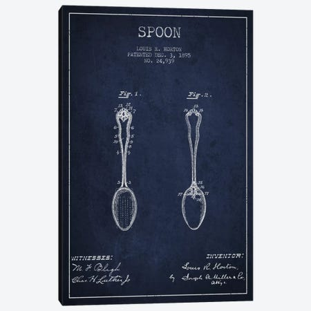 Spoon Navy Blue Patent Blueprint Canvas Print #ADP796} by Aged Pixel Canvas Artwork