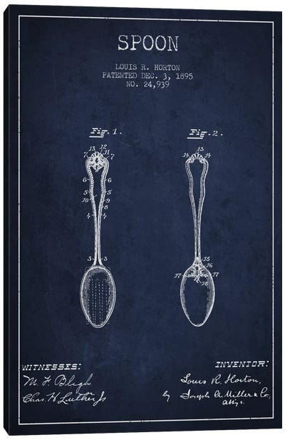 Spoon Navy Blue Patent Blueprint Canvas Art Print