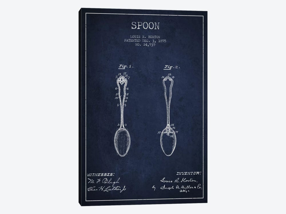 Spoon Navy Blue Patent Blueprint by Aged Pixel 1-piece Canvas Art Print