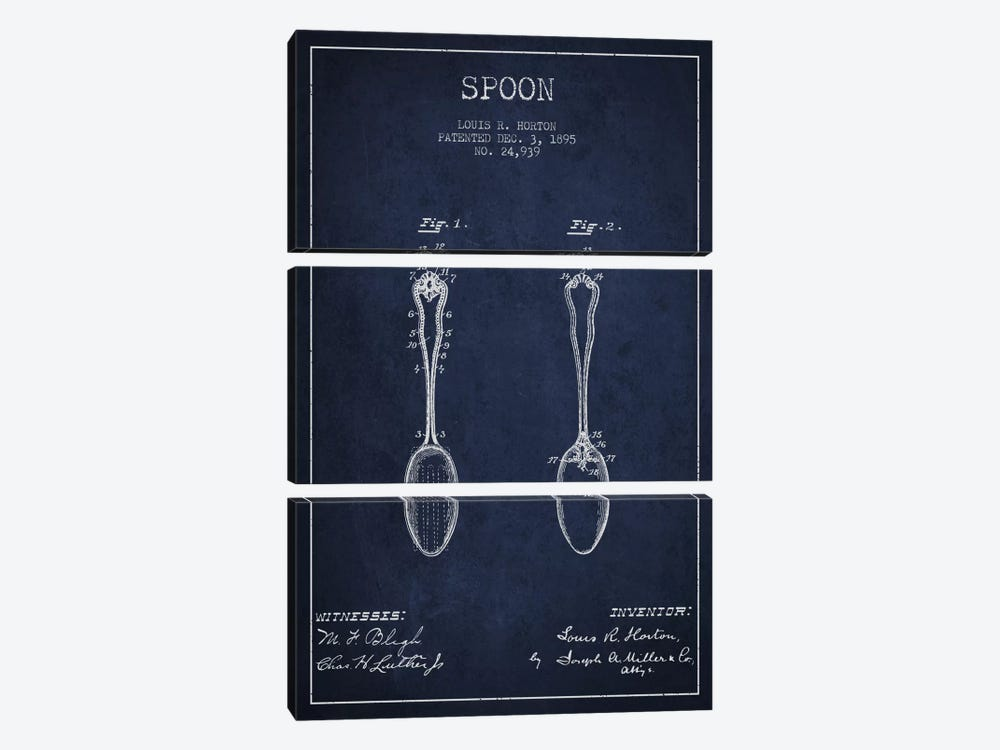 Spoon Navy Blue Patent Blueprint by Aged Pixel 3-piece Art Print