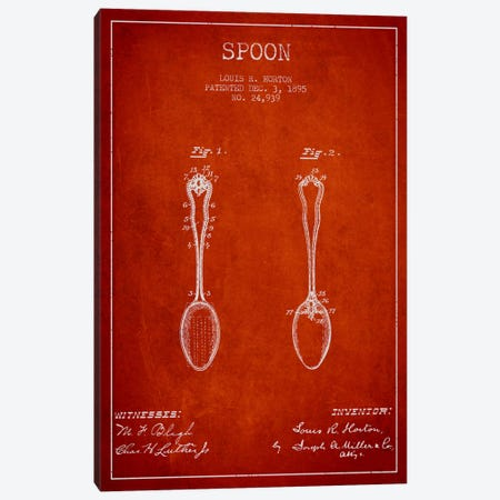 Spoon Red Patent Blueprint Canvas Print #ADP797} by Aged Pixel Canvas Artwork