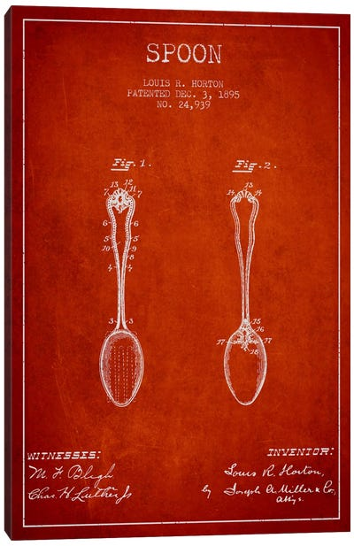 Spoon Red Patent Blueprint Canvas Art Print