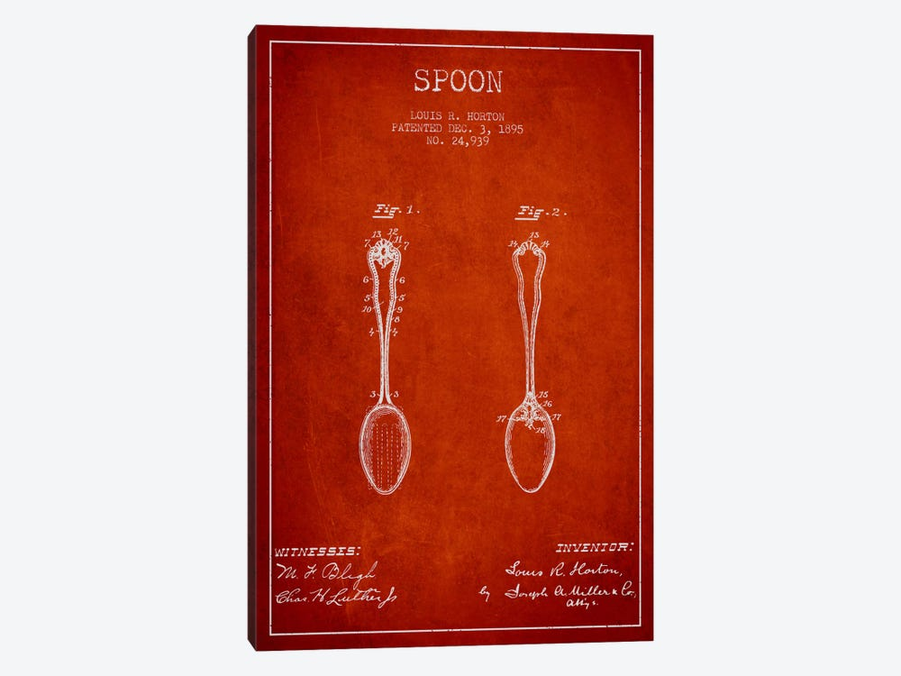 Spoon Red Patent Blueprint by Aged Pixel 1-piece Canvas Art