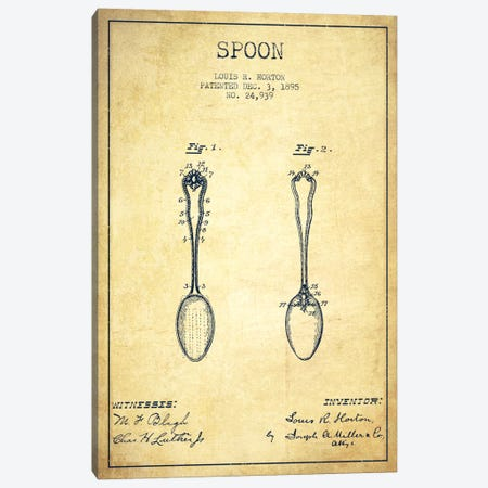 Spoon Vintage Patent Blueprint Canvas Print #ADP798} by Aged Pixel Canvas Print