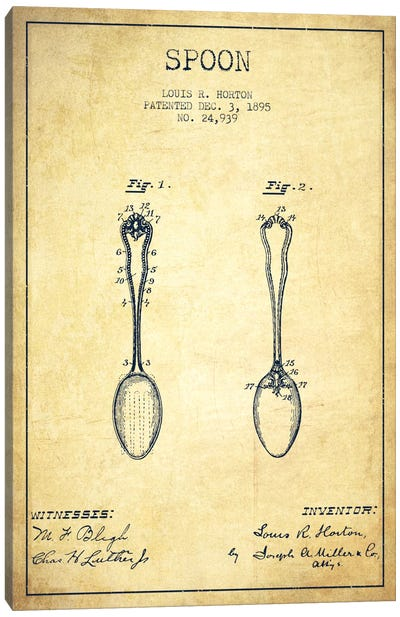 Spoon Vintage Patent Blueprint Canvas Art Print