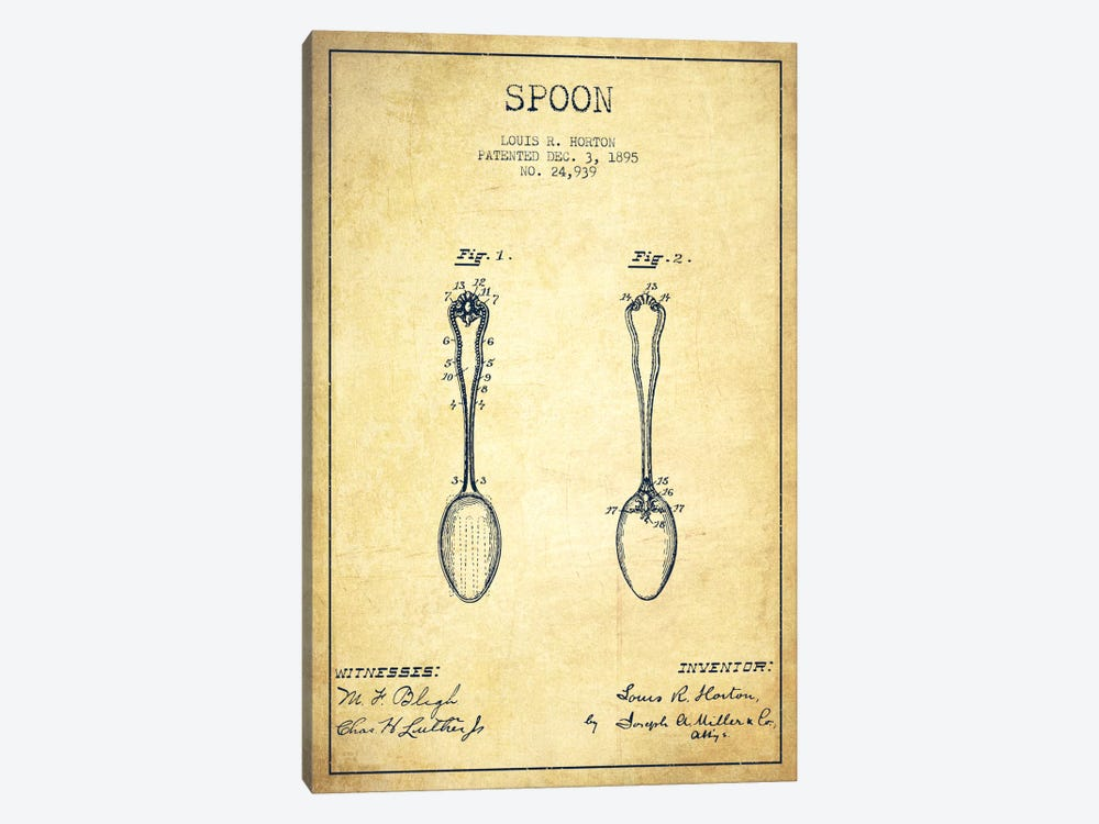 Spoon Vintage Patent Blueprint 1-piece Canvas Print