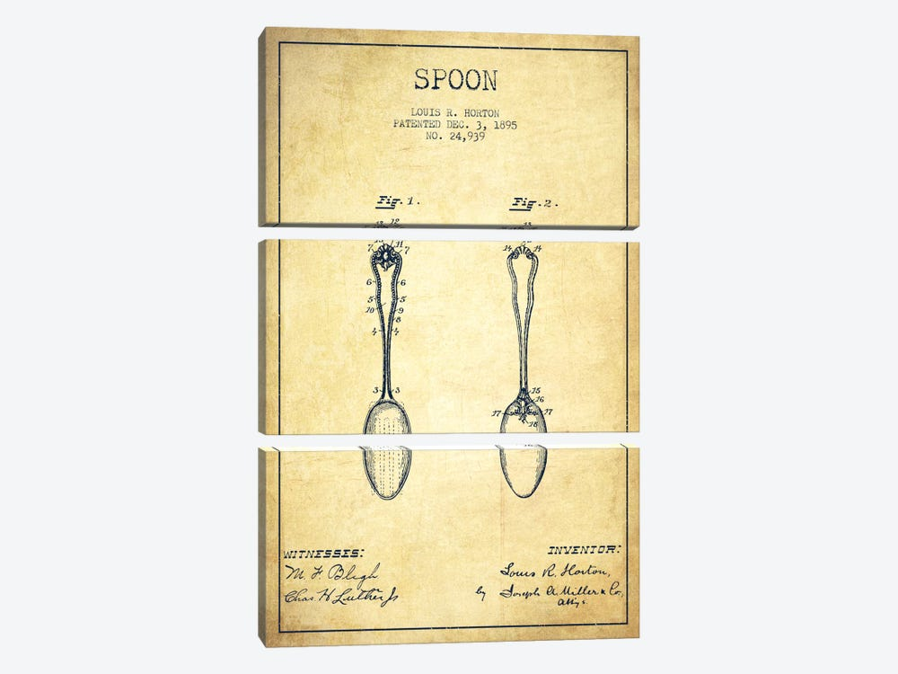 Spoon Vintage Patent Blueprint by Aged Pixel 3-piece Canvas Print