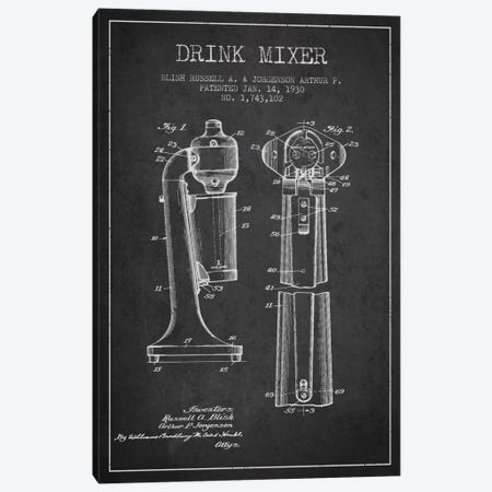 Drink Mixer Charcoal Patent Blueprint Canvas Print #ADP799} by Aged Pixel Canvas Art Print