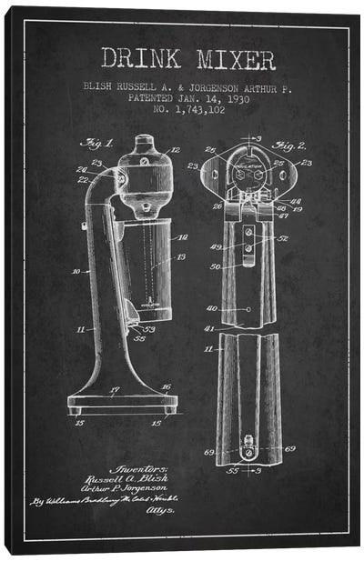 Drink Mixer Charcoal Patent Blueprint Canvas Art Print