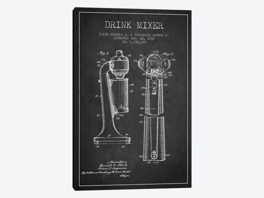 Drink Mixer Charcoal Patent Blueprint by Aged Pixel 1-piece Canvas Artwork