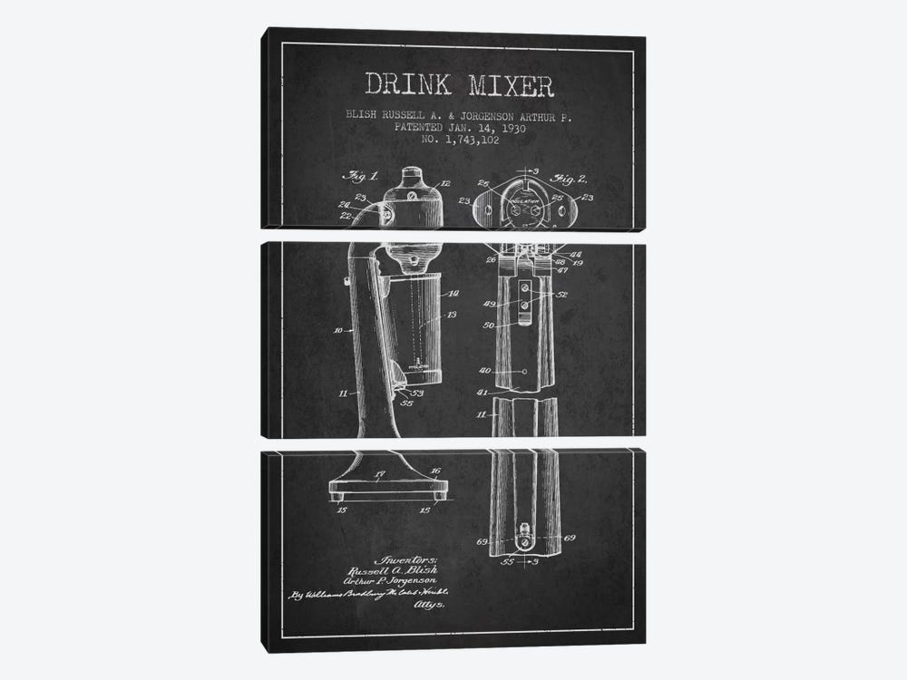Drink Mixer Charcoal Patent Blueprint by Aged Pixel 3-piece Canvas Wall Art