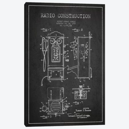 Bowers Radio Dark Patent Blueprint Canvas Print #ADP7} by Aged Pixel Canvas Artwork