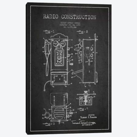 Bowers Radio Dark Patent Blueprint Canvas Print #ADP7} by Aged Pixel Canvas Artwork
