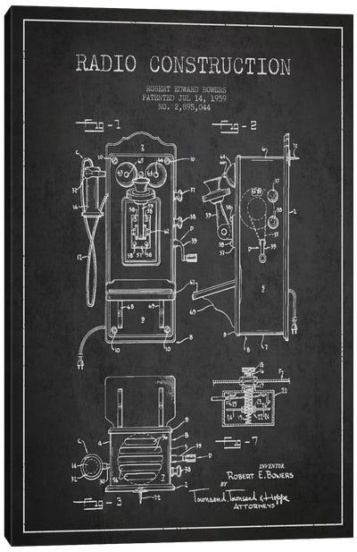 Bowers Radio Dark Patent Blueprint Canvas Art Print