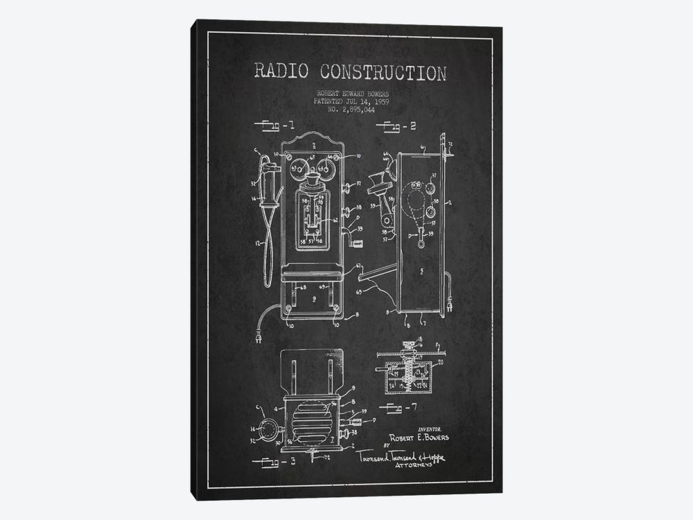 Bowers Radio Dark Patent Blueprint by Aged Pixel 1-piece Canvas Print