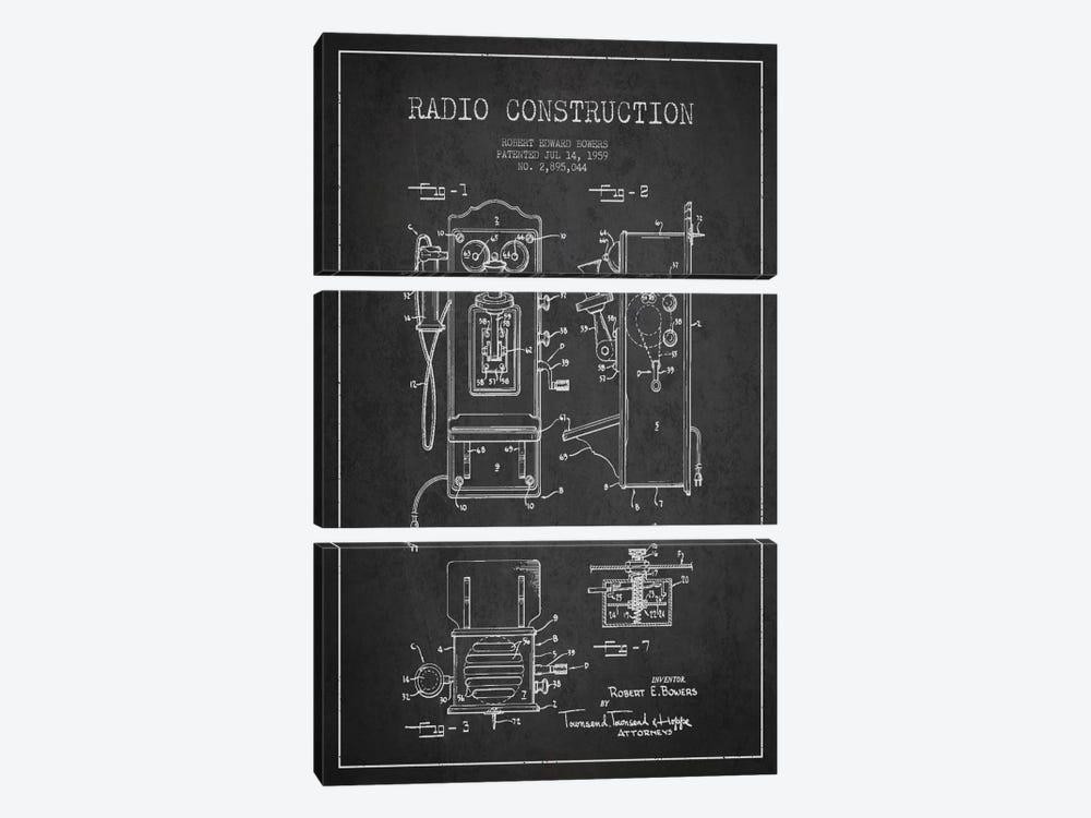 Bowers Radio Dark Patent Blueprint by Aged Pixel 3-piece Art Print