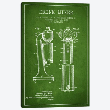Drink Mixer Green Patent Blueprint Canvas Print #ADP800} by Aged Pixel Art Print