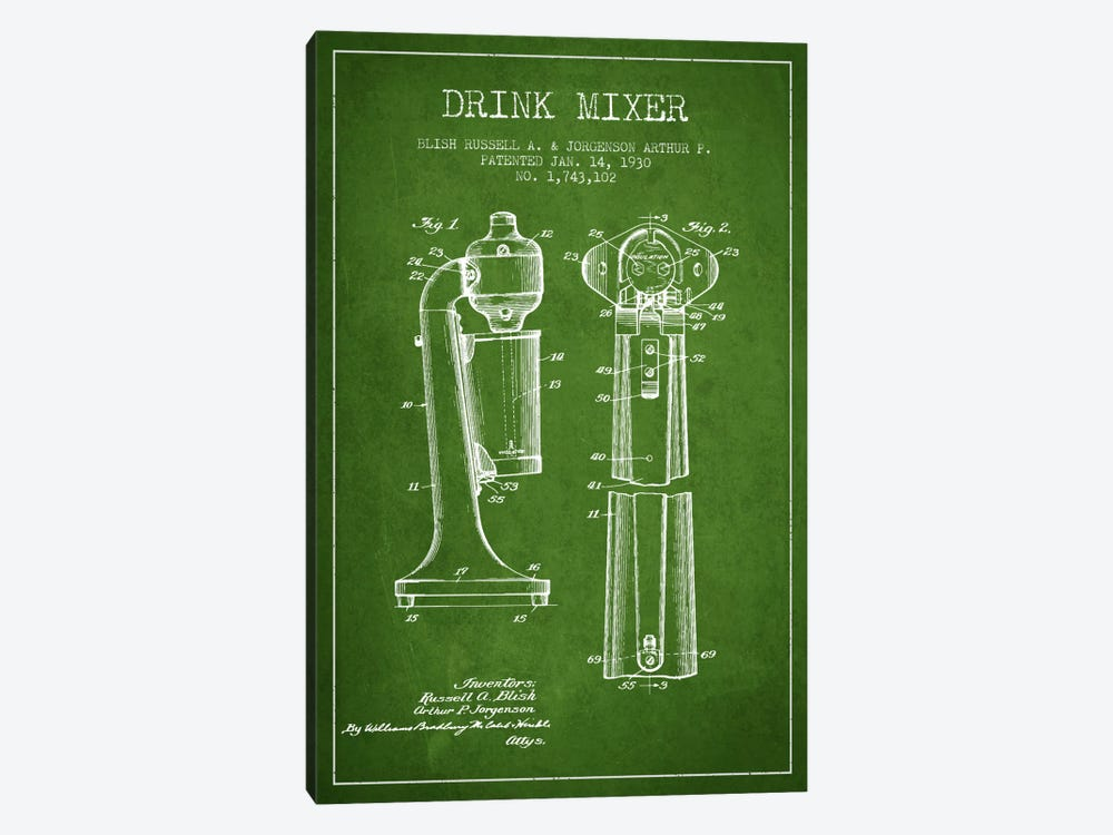 Drink Mixer Green Patent Blueprint by Aged Pixel 1-piece Canvas Wall Art