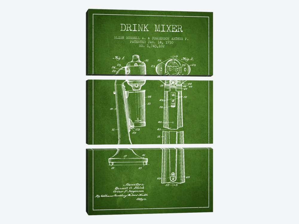 Drink Mixer Green Patent Blueprint by Aged Pixel 3-piece Canvas Art