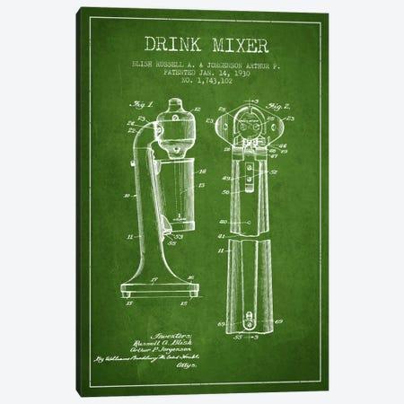 Drink Mixer Green Patent Blueprint Canvas Print #ADP800} by Aged Pixel Art Print