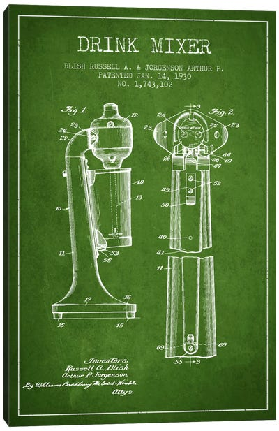 Drink Mixer Green Patent Blueprint Canvas Art Print