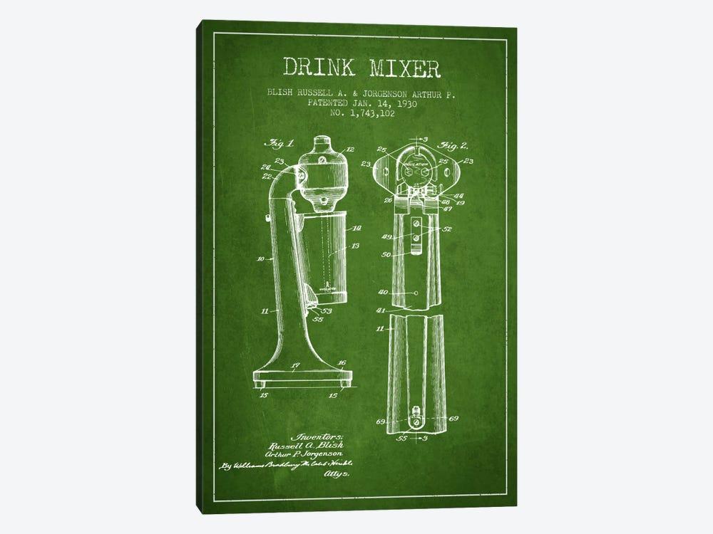 Drink Mixer Green Patent Blueprint by Aged Pixel 1-piece Canvas Wall Art