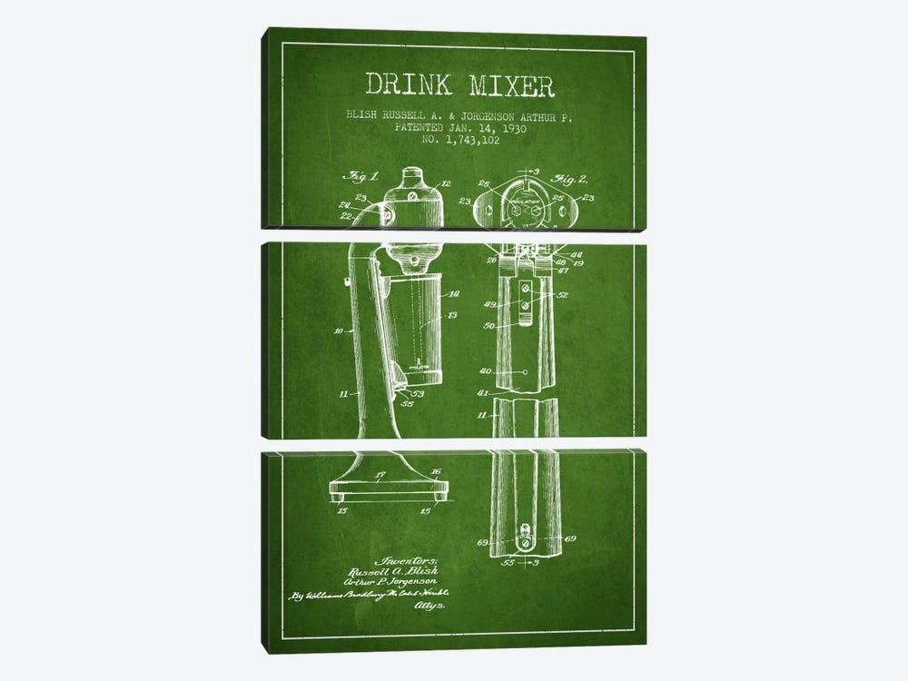 Drink Mixer Green Patent Blueprint by Aged Pixel 3-piece Canvas Art