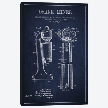 Drink Mixer Navy Blue Patent Blueprint Canvas Print #ADP801} by Aged Pixel Art Print