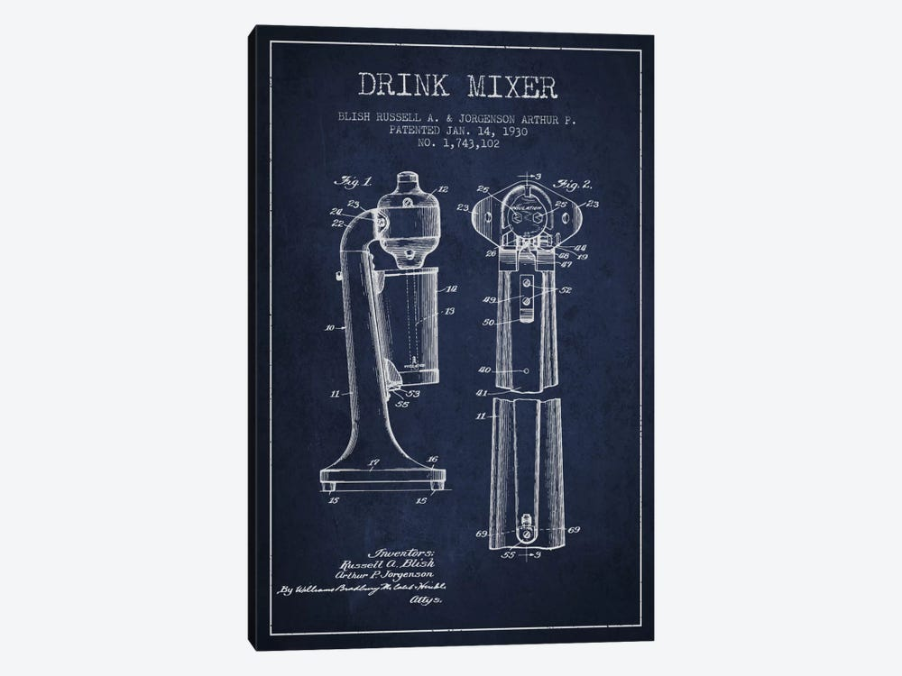 Drink Mixer Navy Blue Patent Blueprint by Aged Pixel 1-piece Canvas Print