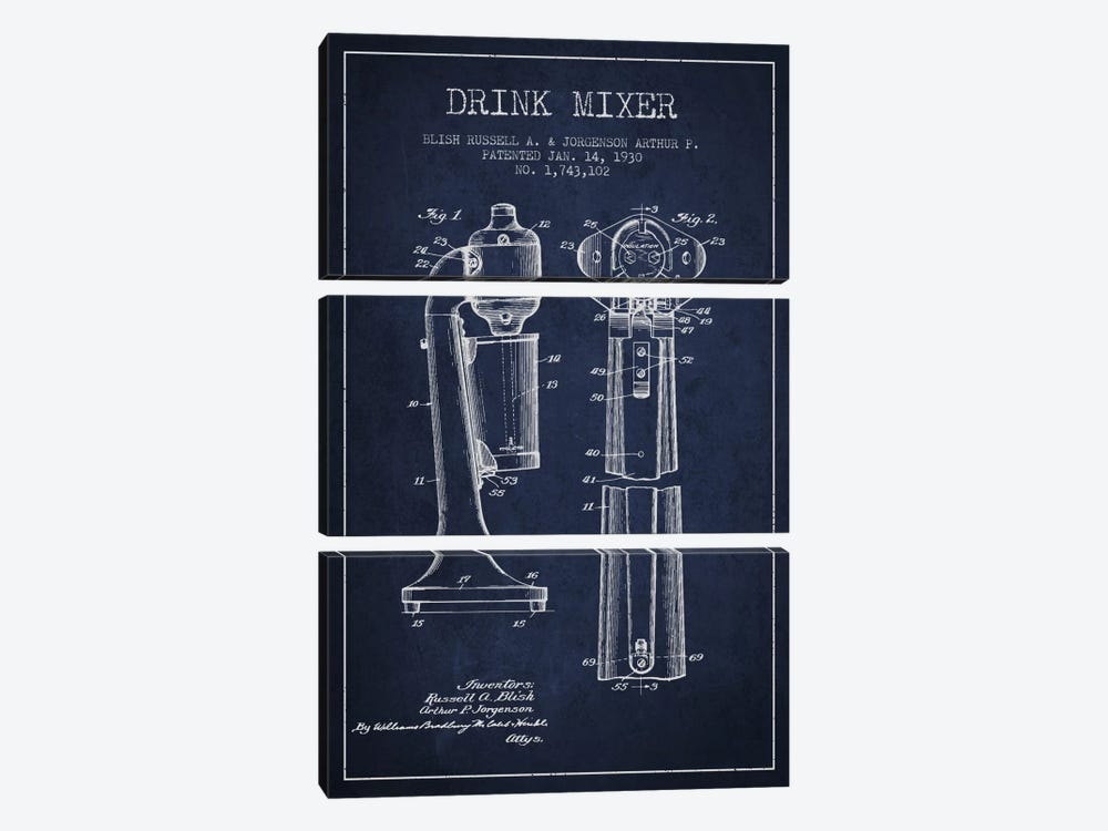 Drink Mixer Navy Blue Patent Blueprint by Aged Pixel 3-piece Canvas Print