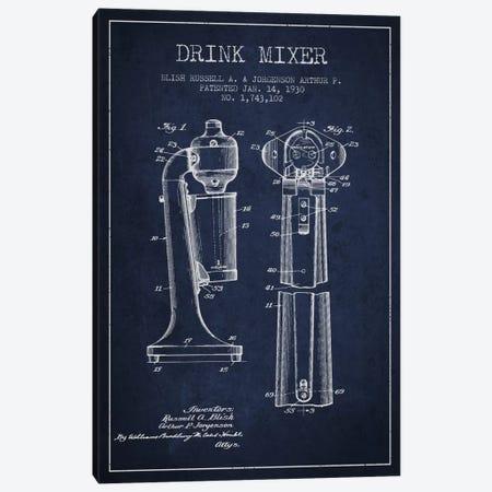 Drink Mixer Navy Blue Patent Blueprint Canvas Print #ADP801} by Aged Pixel Art Print