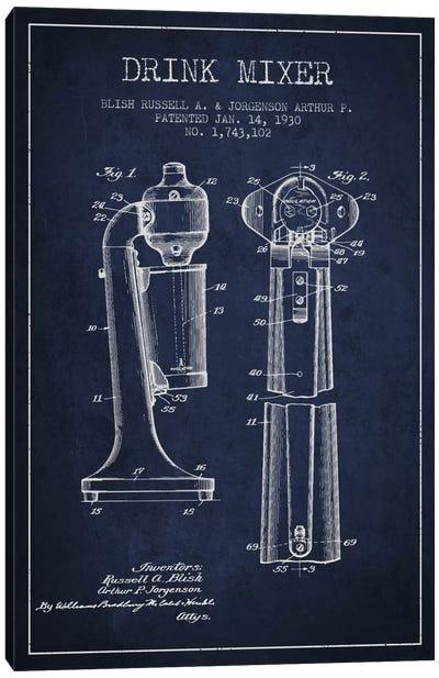 Drink Mixer Navy Blue Patent Blueprint Canvas Art Print