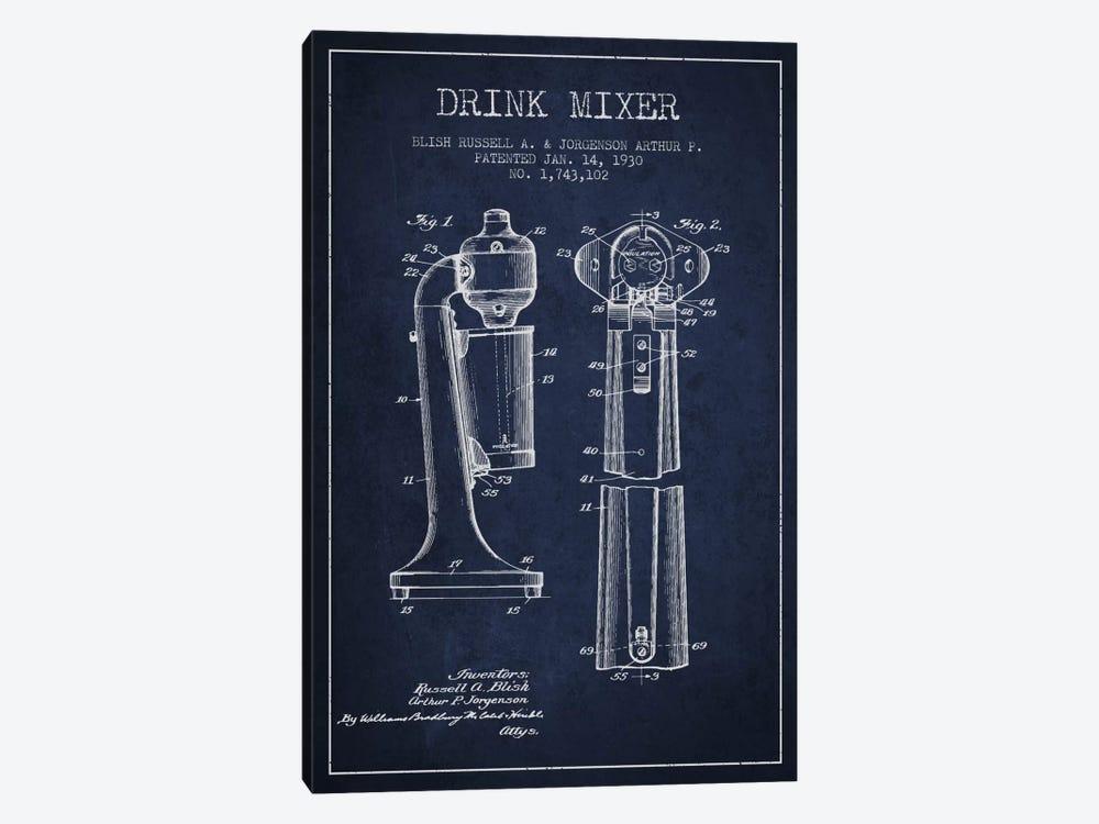 Drink Mixer Navy Blue Patent Blueprint by Aged Pixel 1-piece Canvas Print