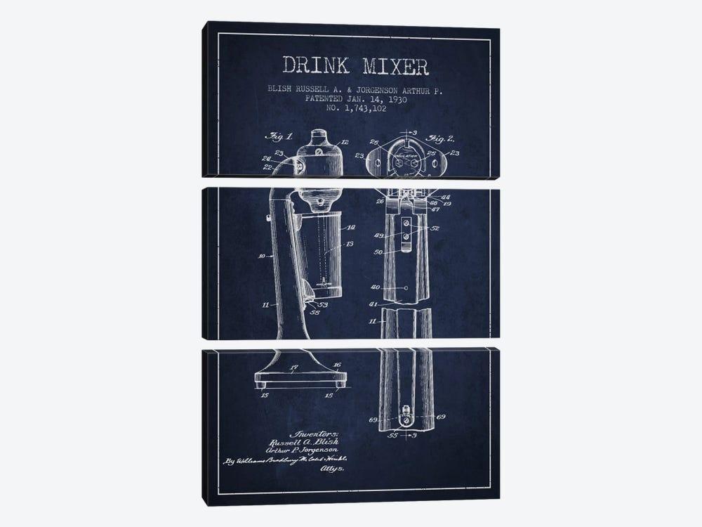Drink Mixer Navy Blue Patent Blueprint by Aged Pixel 3-piece Canvas Print