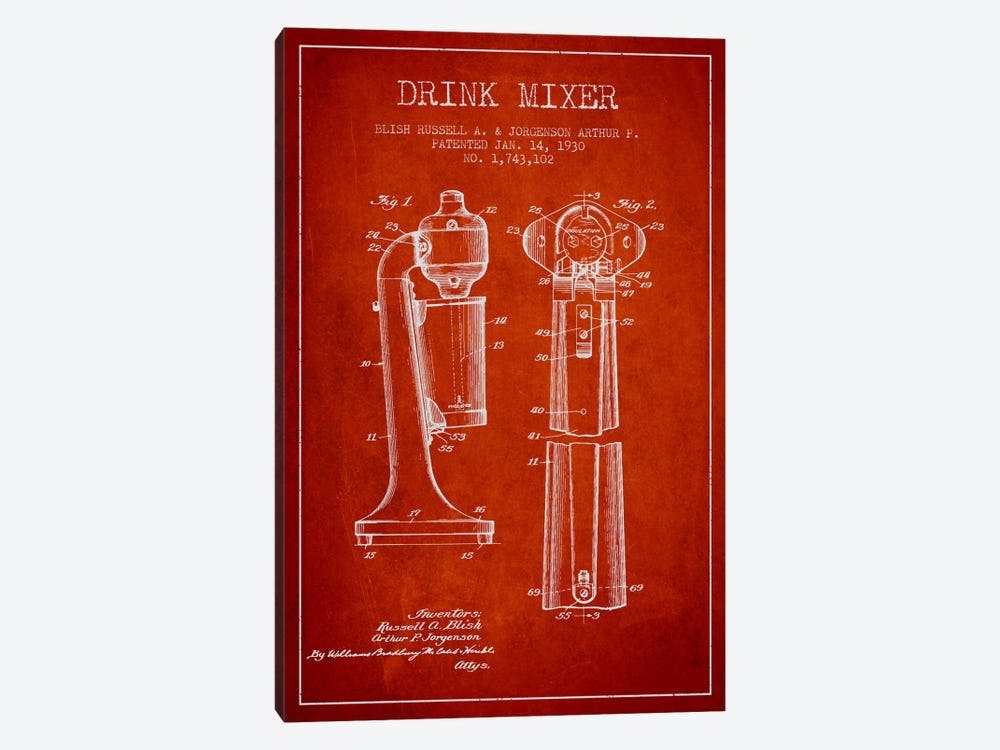 Drink Mixer Red Patent Blueprint by Aged Pixel 1-piece Canvas Wall Art