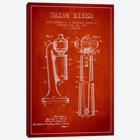 Drink Mixer Red Patent Blueprint Canvas Print #ADP802} by Aged Pixel Canvas Print