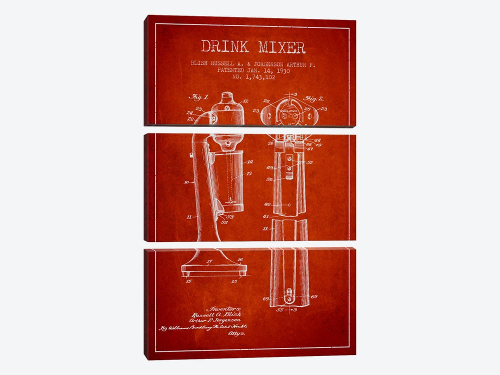 Drink Mixer Red Patent Blueprint 3-piece Canvas Art