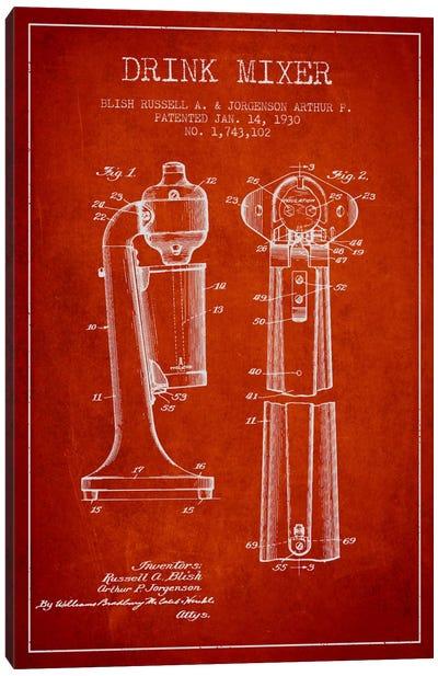 Drink Mixer Red Patent Blueprint Canvas Art Print
