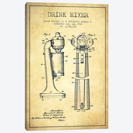 Drink Mixer Vintage Patent Blueprint Canvas Print #ADP803} by Aged Pixel Art Print