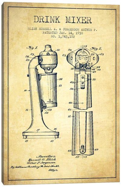 Drink Mixer Vintage Patent Blueprint Canvas Art Print