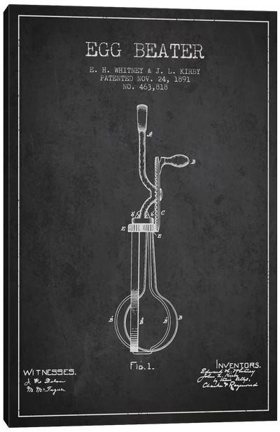 Egg Beater Charcoal Patent Blueprint Canvas Art Print