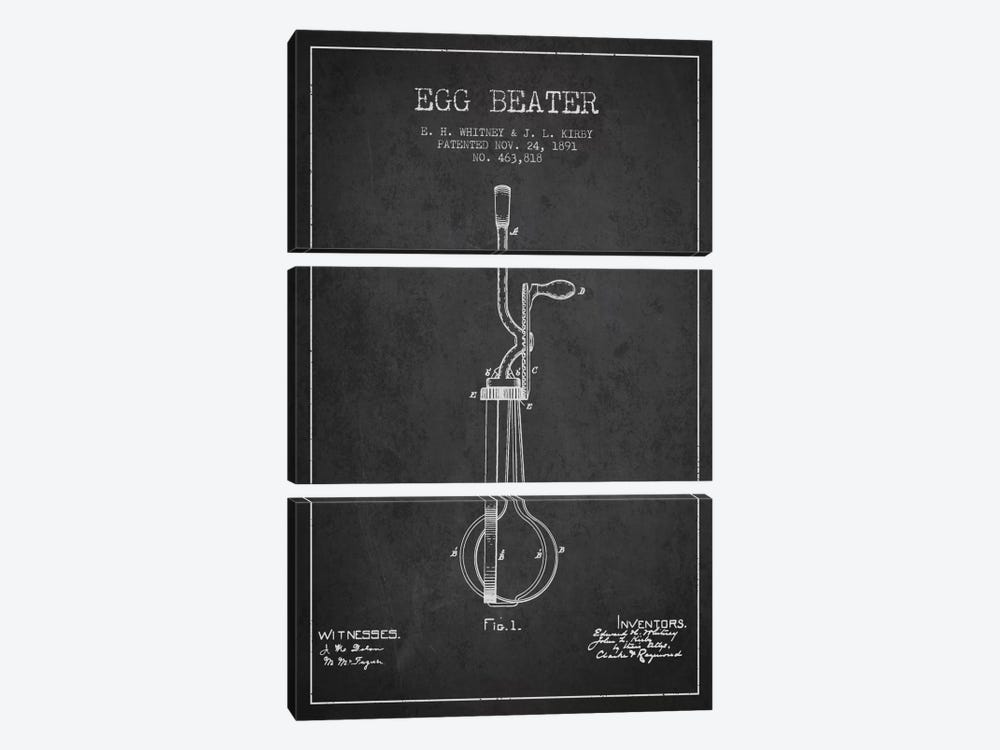 Egg Beater Charcoal Patent Blueprint by Aged Pixel 3-piece Canvas Art