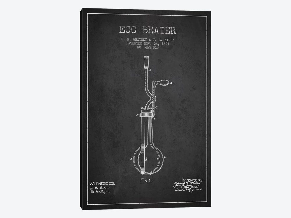 Egg Beater Charcoal Patent Blueprint by Aged Pixel 1-piece Canvas Wall Art