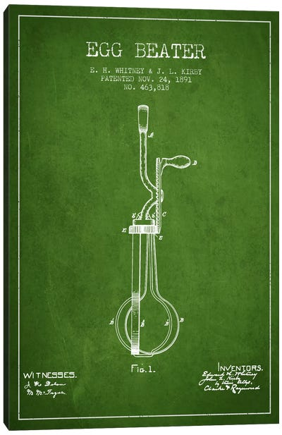 Egg Beater Green Patent Blueprint Canvas Art Print