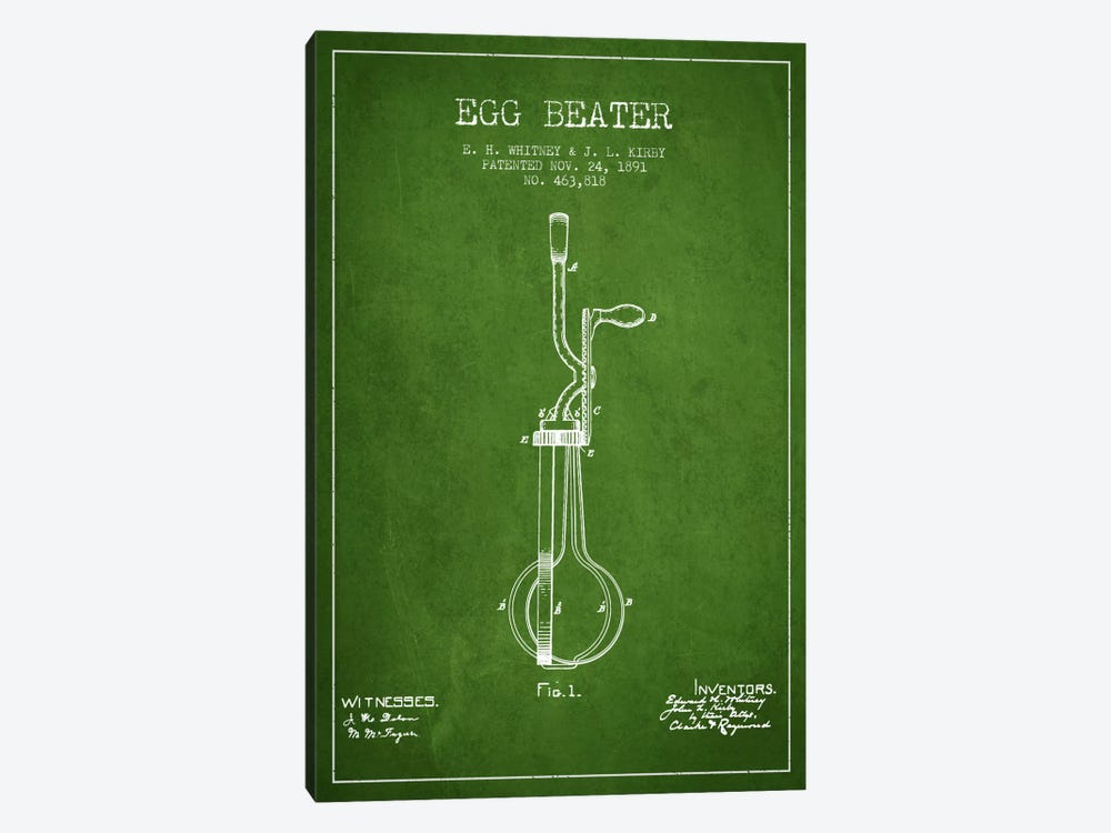 Egg Beater Green Patent Blueprint by Aged Pixel 1-piece Art Print